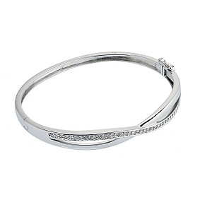 Silver crossover cubic zirconia bangle - Product number 6629709