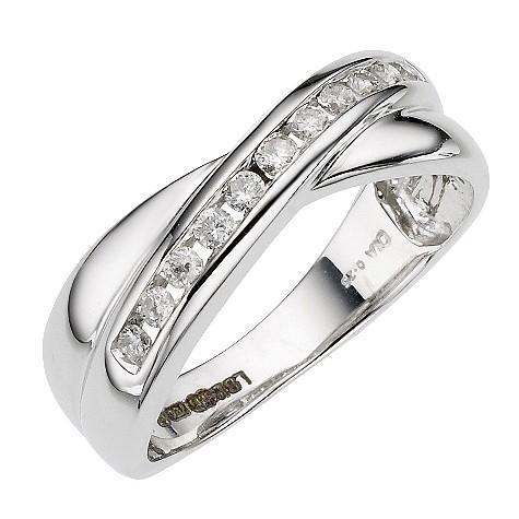 18ct White Gold Quarter Carat Diamond Cross Over Ring