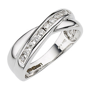18ct White gold 1/4 carat diamond crossover ring - Product number 6630782