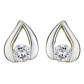 Sterling silver cubic zirconia set stud earrings - Product number 6633048