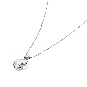 "9ct White Gold 10mm Diamond Set Heart Locket with 18"" Chain - Product number 6636349"