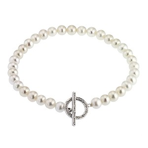 Cultured freshwater pearl 9ct white gold bracelet