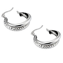9ct White Gold Diamond Cut 15mm Double Creole Earrings - Product number 6638996