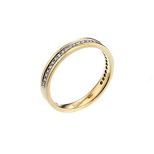 9ct Yellow Gold Rhodium Plated Ladies Diamond Wedding Ring