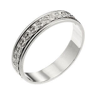 9ct White Gold Patterned Wedding Ring