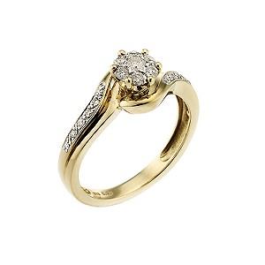 9ct Two Tone Quarter Carat Diamond Cluster Ring