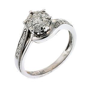 9ct White Gold Half Carat Diamond Ring