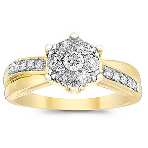9ct Gold Half Carat Diamond Cluster Crossover Ring