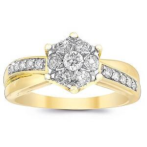 9ct Gold Half Carat Diamond Cluster Crossover Ring