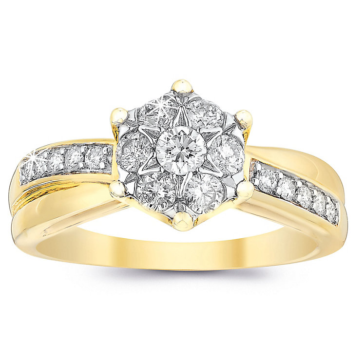 9ct Gold Half Carat Diamond Cluster Crossover Ring - Product number 6658555