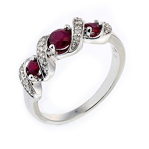 9ct White Gold Diamond Treated Ruby Ring