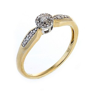9ct Two Colour Gold Diamond Solitaire Ring