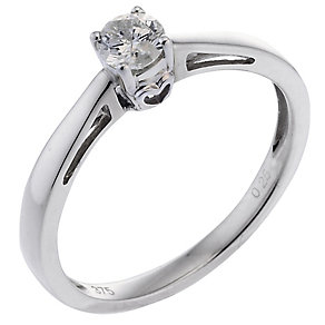 9ct White Gold Quarter Carat Diamond Solitaire Ring - Product number 6661165