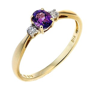9ct Gold Diamond and Amethyst Oval Ring