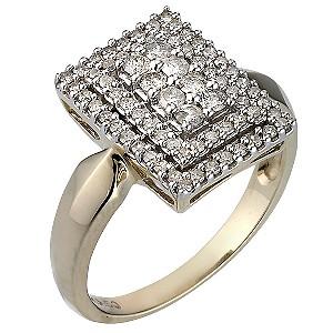 9ct Gold Half Carat Diamond Cluster Ring