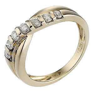 9ct yellow gold quarter carat diamond eternity ring