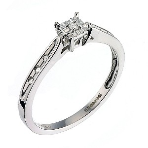 9ct White Gold Diamond Solitaire Ring - Product number 6664164