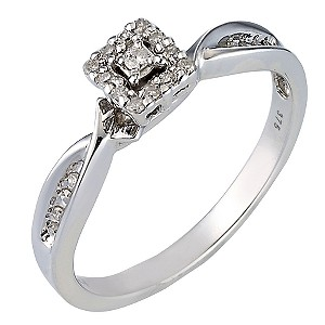 9ct White Gold Square Diamond Cluster Ring - Product number 6664296