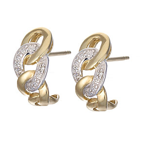 9ct Gold Rhodium and Diamond Hoop Earrings - Product number 6664784