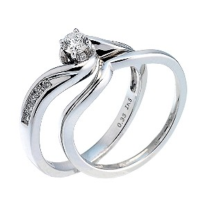 18ct White Gold Third Carat Diamond Twist Bridal Ring Set - Product number 6664903