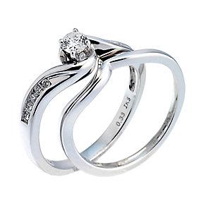 18ct White Gold Third Carat Diamond Twist Bridal Ring Set - Product number 6664903