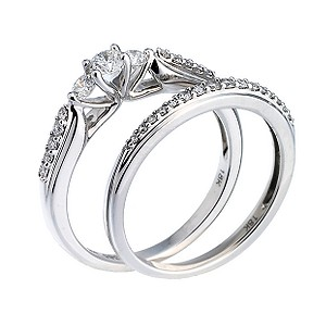 18ct White Gold Three Stone Half Carat Bridal Set - Product number 6665039