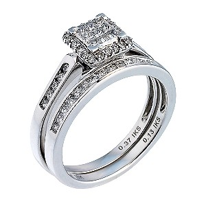 18ct White Gold Half Carat Diamond Princessa Bridal Ring Set - Product number 6665306
