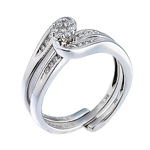 9ct White Gold Third Carat Diamond Cluster Bridal Ring Set