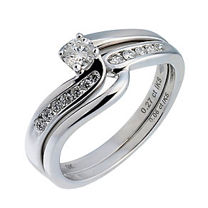 9ct White Gold Third Carat Diamond Twist Bridal Ring Set - Product number 6665713