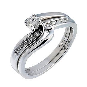 9ct White Gold Third Carat Diamond Twist Bridal Ring Set - Product number 6665713