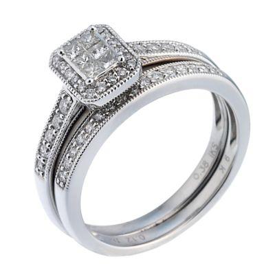 9ct White Gold Half Carat Diamond Bridal Ring Set HSamuel