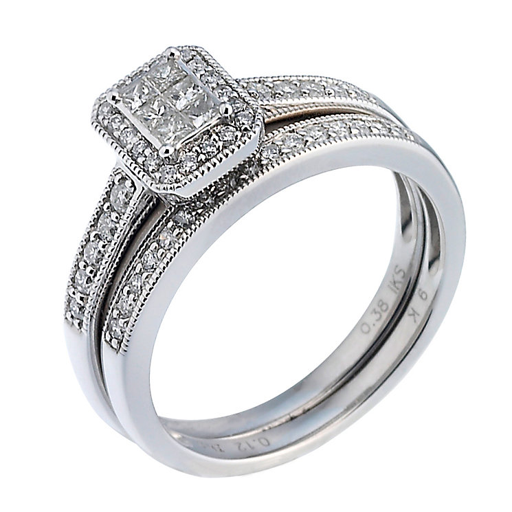 9ct White Gold Half Carat Diamond Bridal Ring Set