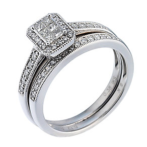 9ct White Gold Half Carat Diamond Bridal Ring Set - Product number 6665985