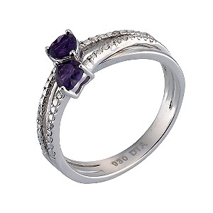 Sterling Silver Diamond and Amethyst Crossover Ring