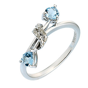 Silver Diamond Blue Topaz Charm Ring - Product number 6669158