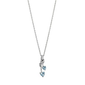 Sterling Silver Diamond and Blue Topaz Pendant - Product number 6669301