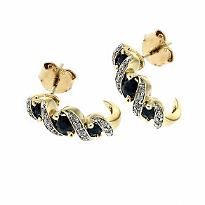 9ct Gold Diamond and Sapphire Three Stone Stud Earrings - Product number 6669530