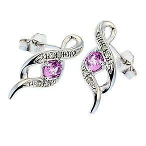 9ct White Gold Diamond and Pink Sapphire Stud Earrings - Product number 6669549
