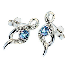 9ct White Gold Diamond and Tanzanite Stud Earrings - Product number 6669557
