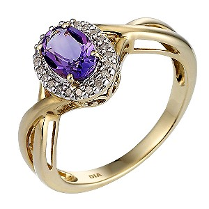 9ct Yellow Gold Rhodium Plated Diamond Amethyst Ring