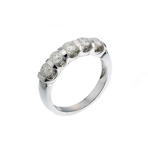 18ct white one carat diamond five stone ring