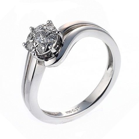 18ct white gold quarter carat diamond cluster ring