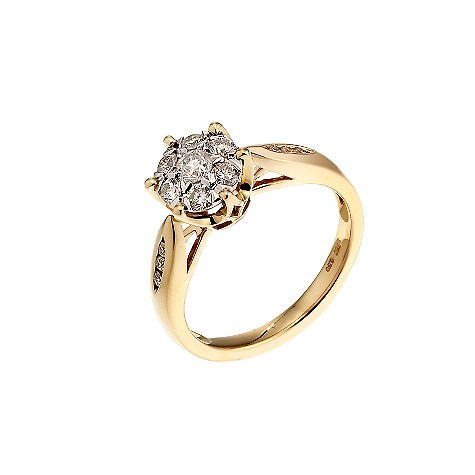 18ct yellow gold half carat diamond cluster ring
