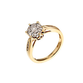 18ct yellow gold half carat diamond cluster ring - Product number 6673031