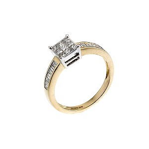 18ct yellow gold half carat diamond cluster ring - Product number 6673163