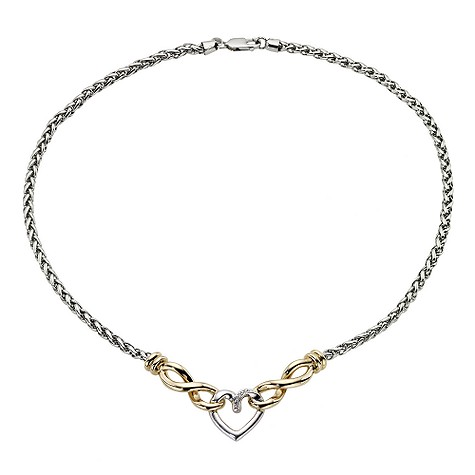 9ct Yellow Gold and Silver Diamond Heart Charm Necklace
