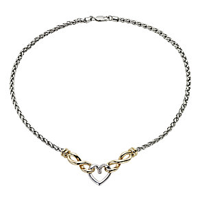 9ct Gold & Silver Diamond Heart Charm Necklace - Product number 6673996