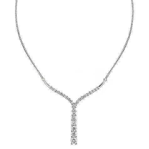 9ct white gold cubic zirconia set journey necklace