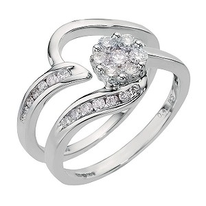 18ct White Gold Half Carat Diamond Cluster Bridal Set - Product number 6675433