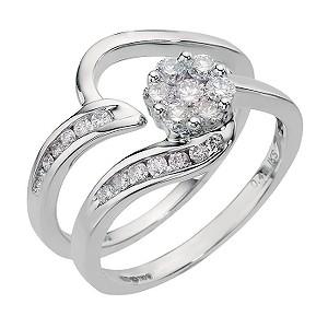 18ct White Gold Half Carat Diamond Cluster Bridal Set - Product number 6675433